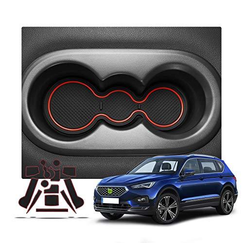 RUIYA antislip auto-interieur deursleuf armbox opbergmatten pads voor 2019 2020 Seat Tarraco (5 plaatsen), anti-stof-, poort-sleuf-beschermer, schalen mat, autodecoratie met logo rood