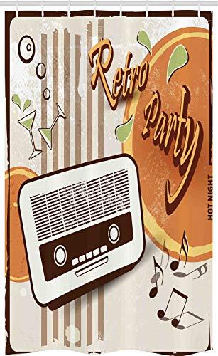 ABAKUHAUS 70s Party Douchegordijn, De Partij van de kunst met Oude Radio, voor Douchecabine Stoffen Badkamer Decoratie Set met Ophangringen, 120 x 180 cm, Orange Dark Brown Beige