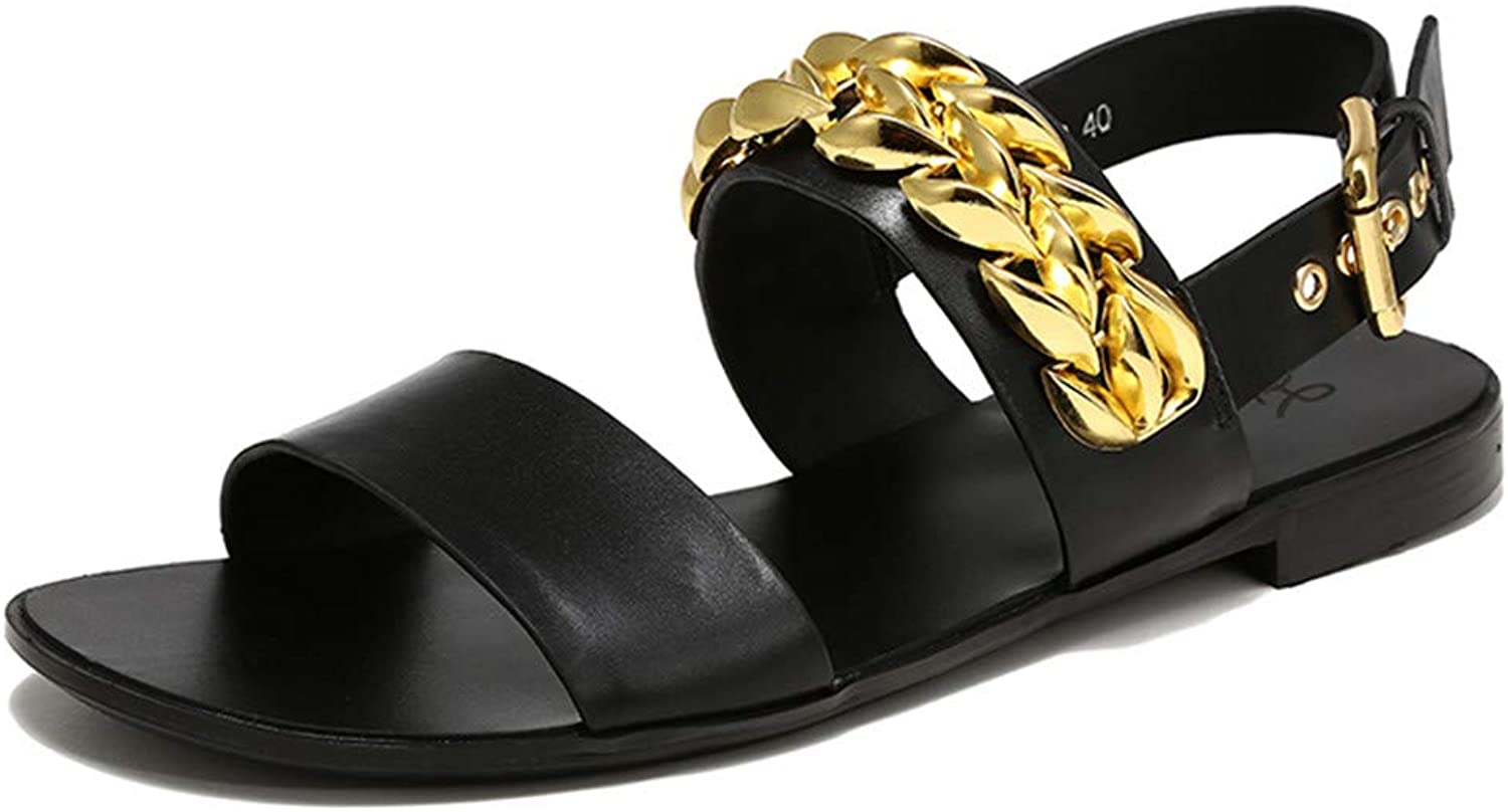 Liu guifang Summer Rubber shoes Buckle Strap Balck Sandals Soft Leather Men gold Chain Open Toe Youth Flat Sandals Hombre