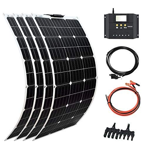 XINPUGUANG Solar Panel 4pcs 100W 12V 400W Flexible Solar Kits Battery Charger Monocrystalline 40A Charge Controller PV Connector Cable for Car RV Boat Cabin Trailer