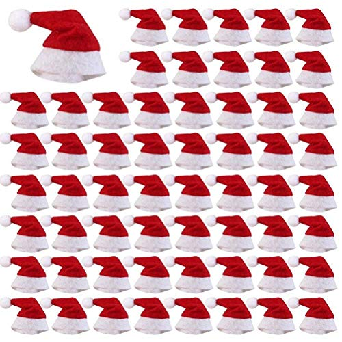 WarmShine 60 PCS Mini Christmas Hats Mini Christmas Santa Bottle Hats Christmas Lollipop Candy Cover Hat Holiday Party Supplies, 2.36x1.0Inch