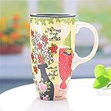 TLLW Taza de cerámica Personalizada, Tazas para té, 600 ml, Tazas Personalizadas para Parejas, Taza Mujeres, Tazas Personalizadas, Porcelana, Florero, 600 ml