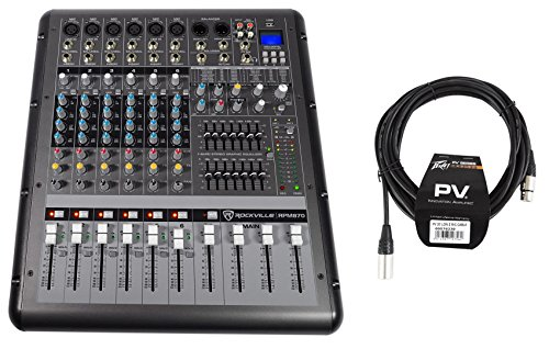 Rockville RPM870 8 Channel 6000w Powered Mixer w/USB, Effects+Peavey XLR Cable