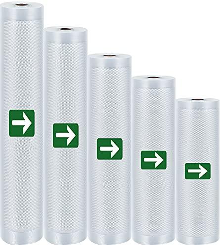 LAKIDAY Vakuumrollen 5 Rollen 25+23+20+18+15x500cm Profi- Folienrollen, BPA-frei, Vakuumierbeutel für alle Vakuumierer, Wiederverwendbar Vakuumbeutel | Made in PRC