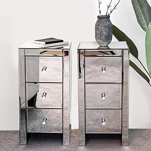 YORKING 2× Mirrored Bedside Tables Silver Units Cabinets Three Drawers Crystal Handles Locker