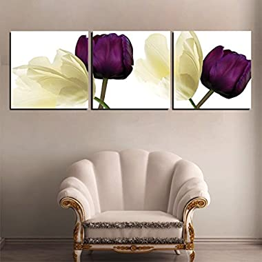 Amoy Art 3 Panels Purple Yellow Flowers Canvas Wall Art Floral Canvas Print Picture for Living Room Home Decorations Framed Ready to Hang