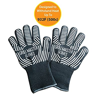 Extreme Heat Resistant Grill Gloves - Ideal BBQ Gloves / Oven Gloves Rated to 932f for the Grill, Kitchen, Baking by Grill Master ( Grey )