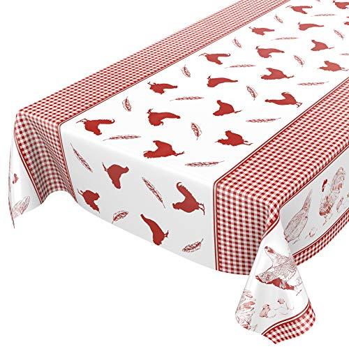 Anro - Mantel de hule lavable, para mesa, 95% PVC, 5% poliéster., Huevo de Pascua, color rojo, 100 x 140cm Schnittkante