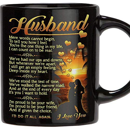 TERAVEX Gift for Husband - 11 Oz Novelty Ceramic Coffee Mug, Romantic Love Wedding, Anniversary Gift, Best Couples, Married, Christmas, Husband Gifts From Wife, Birthday Gifts for Husband - Black