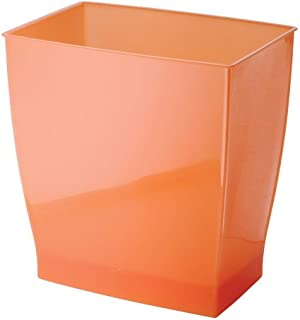 iDesign Spa Rectangular Trash Can, Waste Basket Garbage Can for Bathroom, Bedroom, Home Office, Dorm, College, 2.5 Gallon, Orange