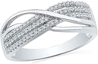 Diamond Ring For Women 10kt White Gold Round Diamond Crossover Band Ring 1/5 Cttw