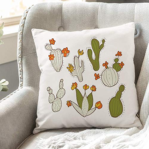 Cushion Covers 45cm x 45cm,Cactus,Cute Doodle Cacti with Flowers Exotic Western Nature Carto,18x18 inches Soft Polyester Square Decorative Throw Pillow Cases for Living Room Sofa Couch Bed Pillowcases
