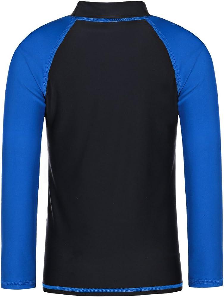 TFJH E Kids Boys UPF 50 UV Swimwear Sun Protective Long Sleeve Two Piece Swimsuit