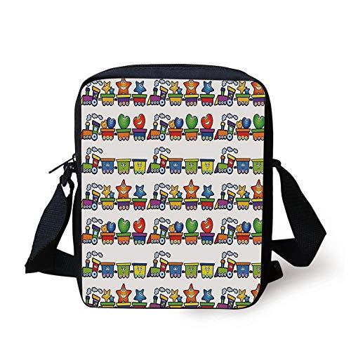 Nursery,Trains Loaded with Stars Hearts and Smiles Cheerful Happy Locomotive Cartoon Print Decorative,Multicolor Print Kids Crossbody Messenger Bag Purse