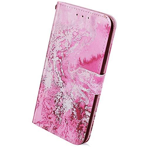 Herbests Kompatibel mit Samsung Galaxy A41 Handyhülle Retro Bunt Muster Flip Case Leder Schutzhülle Brieftasche Wallet Hülle Klapphülle Ledertasche mit Magnet Kartenfach,Ozean Wasser