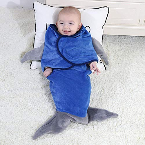 ZHANGYY Cartoon shape baby blanket flannel baby infant baby shark wrap blanket mermaid sleeping bag, blue shark, 33X70cm