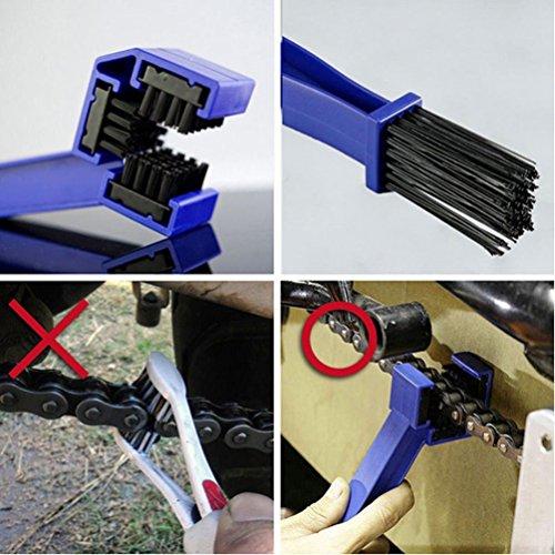 Fahrrad Kettenreinigungsgerät, FahrradKettenreiniger set mit Kettenreinigungsgerät + Kettenbürste + Ritzelbürste Bicycle Chain Cleaner für Motorrad-, Fahrrad- oder Rollerketten (Blau) - 5