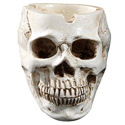 Wffo Skeleton Head Style Ashtray Resin Simulation Head Model Halloween (White)