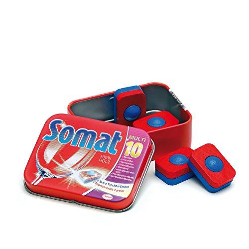 Erzi 21205 Geschirrspültabs Somat in der Dose aus Holz, Kaufladenartikel für Kinder, Rollenspiele
