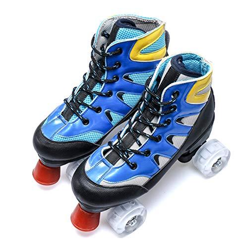 Dytxe Klassische Zweireihige Rollschuhe Skates Kinder Mit Starkem, Haltbarem Chassis Rollschuhe Outdoor/Indoor,Blau,40