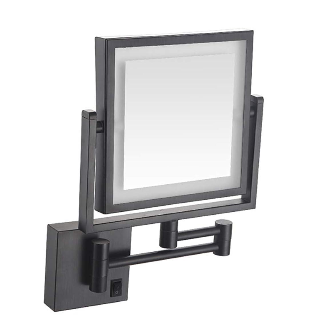 達成する聖歌完全にALYR LEDが点灯 化粧鏡/化粧鏡、両面 化粧鏡 壁掛け式 バスルームミラー 3 ズームイン 化粧鏡 360°回転有線接続,Black