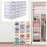Iglobalbuy Shoe Storage; 20 Cajas de Almacenaje ; Caja de Zapatos de Plastico Transparente Apilables Caja de Zapatos Blanco ,Decorativas Ropa Bajo Cama