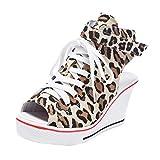 YCQUE Damen Leopard Schuhe Keilabsatz Hohe Hohe Pumps Lässige Party Canvas Schuhe Dicke Untere Krawatte Seitlicher Reißverschluss Lässige Hohe Schuhe Runde Zehe Herausstellen der Ferse