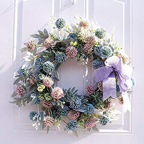 Artificial Onion Ball Wreath Fake Flower Round Wreath Handcraft Wreath Design Greenary Floral Garland 20in Fake Leaves Wreath With Onion Ball For Front Door Outdoor Indoor Garden Office Wedding Decor