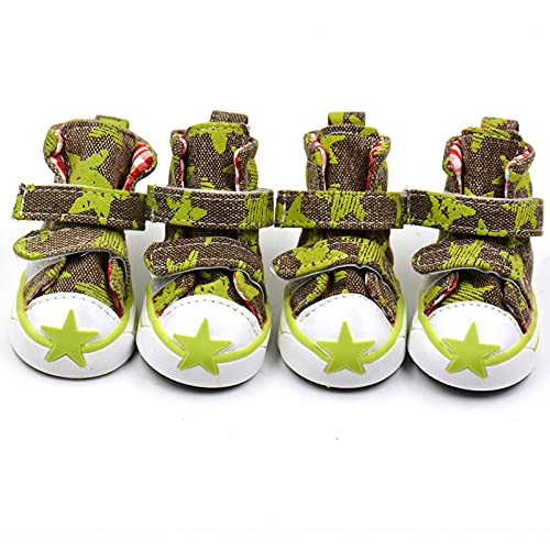 Huisdier schoenen, antislip flexibele lucht mesh lichtgewicht hond poot beschermende laarzen huisdier schoenen puppy laarzen sneaker laarsjes voor kleine middelgrote honden, groen, XXL