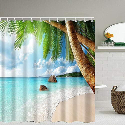 XCBN Cortina de Ducha de baño de diseño Innovador y Personalizado Cortina de Ducha de baño de Palmera de Playa Tropical (con / 12 Ganchos) A1 180x180cm