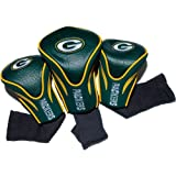 Team Golf NFL Green Bay Packers Contour Golf Club Headcovers (3 Count), Numbered 1, 3, & X, Fits Oversized Drivers, Utility, Rescue & Fairway Clubs, Velour lined for Extra Club Protection