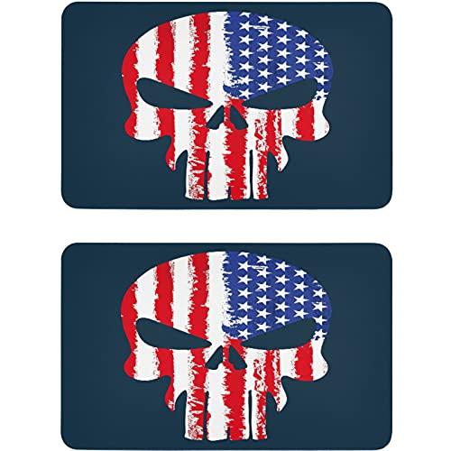Vnurnrn Placa magnética para refrigerador con diseño de calavera de la bandera americana, para cocina, oficina, lavadora, indicador de 2 unidades