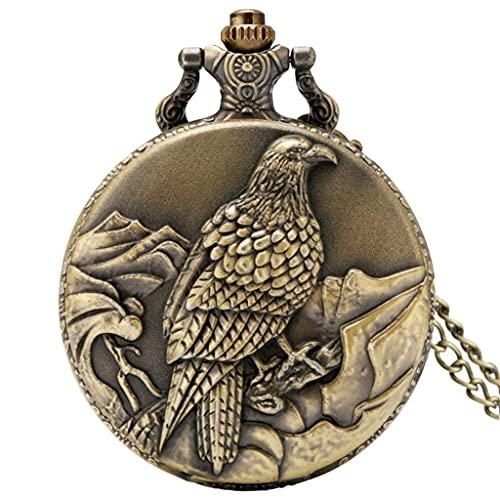XXCHUIJU Vintage Old Eagle Exhibir el Reloj de Bolsillo de Cuarzo Collar de Bronce Cadena Exquisito Bolsillo Reloj de Reloj Hombres Mujeres