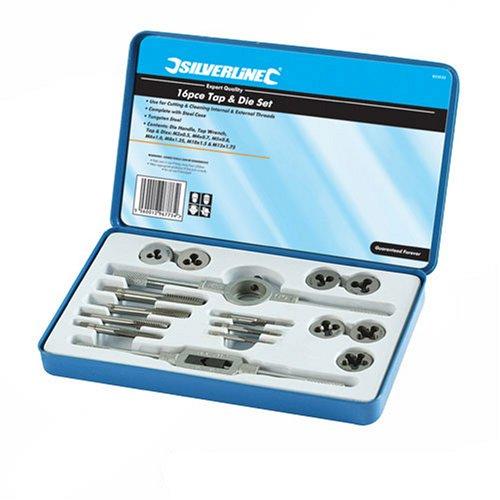 Silverline 823533 Coffret expert de 16 tarauds et filières métrique
