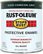 Rust-Oleum 7784502, 32 oz. Quart, Gloss Charcoal Gray Stops Rust Brush On Enamel Paint