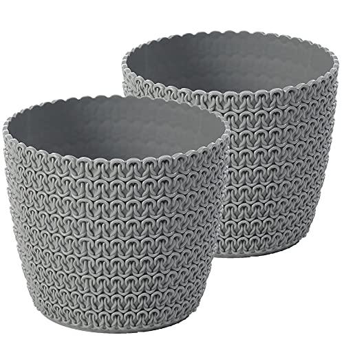 TYMAR Blumentopf , 2er-Pack, runde Form, Übertopf, Häkeloptik ( Grau, ø 14cm )