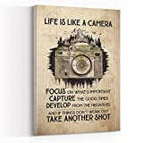 DECOR FOR ROOM ,mens room decor ,Life Is Like A Camera Focus On What's Important Framed Canvas Canvas Wall Art,8''x12'' Framed Modern Canvas Wall Art,