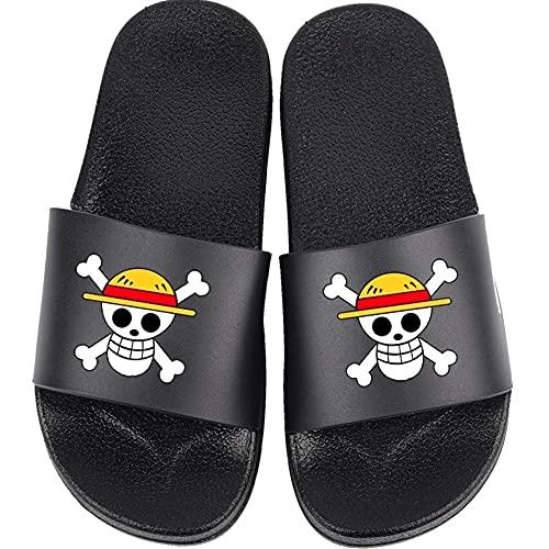 MiduoHu Zapatillas de Baño Mujer, Zapatos de Piscina de Playa con Punta Abierta para Hombre, Cosplay One Piece de Anime japonés Sandalias de Ducha Chanclas de casa (Color : Black, Size : 39/40 EU)