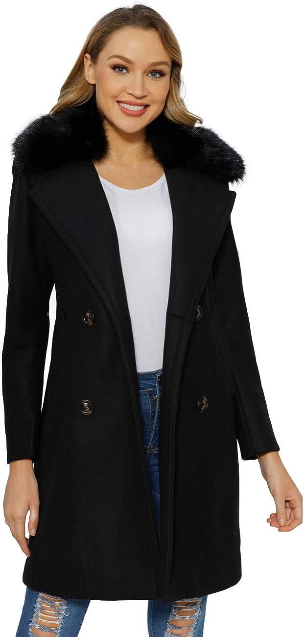 Bellivera Super sale Women's Faux Woolen Fleece The w Coat Trench NEW before selling ☆ Overcoat