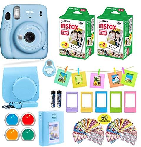 Fujifilm Instax Mini 11 Cámara instantánea Azul Cielo + Estuche + Fujifilm Instax - Paquete de accesorios (40 hojas), filtros de color, álbum de fotos, varios marcos