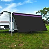 CAMWINGS RV Awning Privacy Screen Shade Panel Kit Sunblock Shade Drop 10 x 18ft, Black
