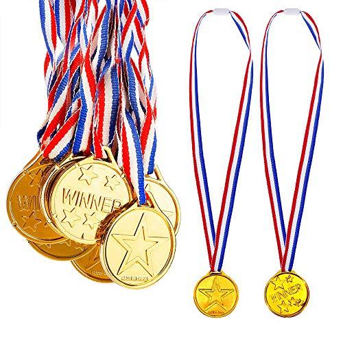 REYOK Gewinner Medaillen Gold,24 Pack Kunststoff Kinder Medaille Mini Olympics Goldmedaillen mit Schlüsselband für Kindergeburtstag Party Spiele Prizzes Wettbewerb Awards 4CM