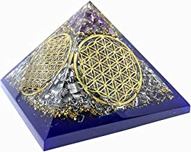 X - Large Amethyst Orgone Pyramid Flowers of Life EMF PROTECTION Kit Includes 4 Crystal Quartz Energy Points/Meditation Yoga Big Energy Generator …