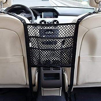 Black Driver Storage Netting Pouch MEISEN Car Net Pocket Handbag Holder Seat Back Organizer Mesh Large Capacity Bag for Purse Storage Phone Documents Pocket Barrier of Back Seat Pet Kids