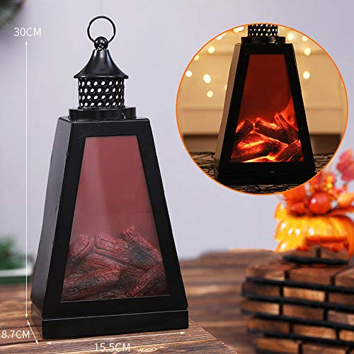 Halloween Realistic Fireplace Lantern, Battery Operated Included Tabletop Fireplace Lantern LED Lights Indoor/Outdoor Fireplace Lamp Home Decoration,C