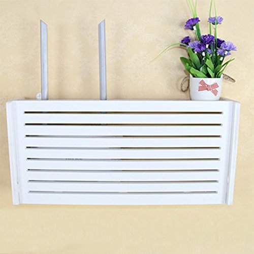 yazi WiFi Router Cable Power Plug Wire Storage Boxes Wall Mount Floating Shelf Storage Rack Window-Shades