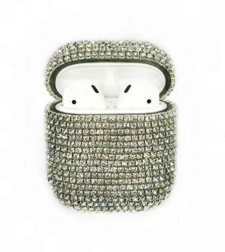 HYPExSTORE® ICED Out Apple AIRPODS 1 & 2 kompatibel Diamonds DIAMANTEN Optik Strass CASE HÜLLE Diamant Off Tasche Fashion White AIRPOD Steine Glitzer