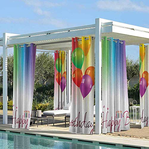 ParadiseDecor Birthday Fashion Curtains Airy Panel for Pavilion Farmhouse Cabin Rainbow Colored Striped Backdrop Balloons Stylized Lettering Candles Artwork Prit Multicolor 76W x 108L Inch