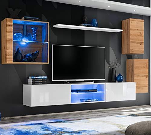 ASM SWITCH XXIII Wohnwand 250cm breit TV Ständer Display Glasschrank PUSH-CLICK Türen LED Leuchten Wotan Eiche Weiß Hochglanz