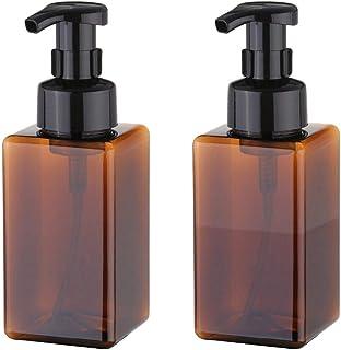 UUJOLY Foaming Soap Dispenser, 450ml (15oz) Refillable Pump Bottle for Liquid Soap, Shampoo, Body Wash (2 Pcs) (Brown)